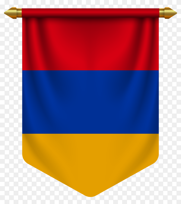 3D realistic pennant with flag of Armenia on transparent background PNG