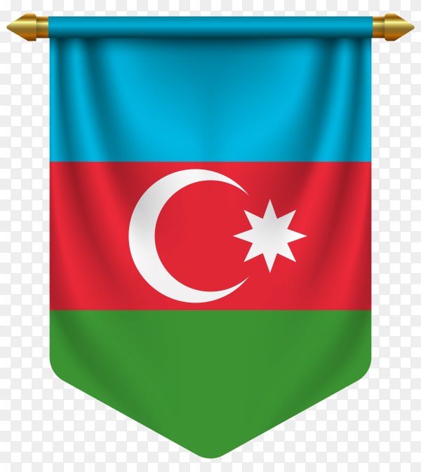 3D realistic pennant with flag of Azerbaijan on transparent background PNG