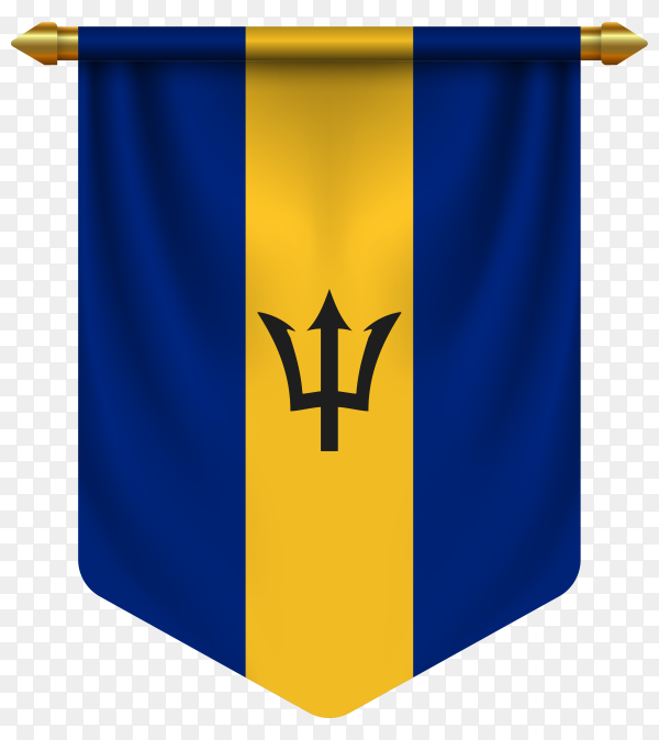 3D realistic pennant with flag of Barbados on transparent background PNG