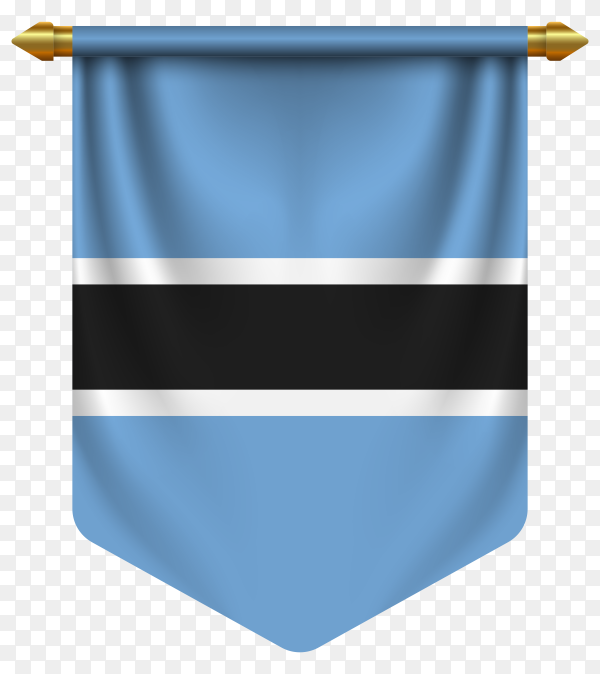 3D realistic pennant with flag of Botswana on transparent background PNG
