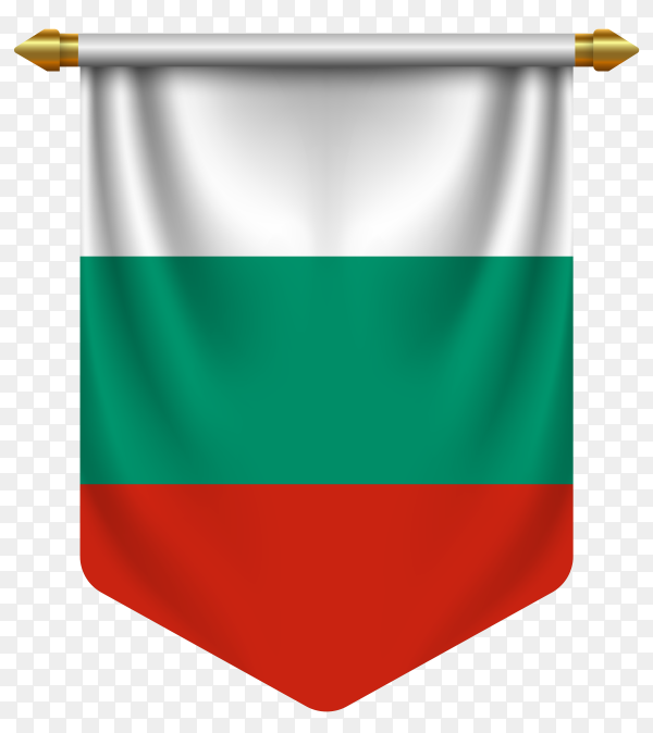 3D realistic pennant with flag of Bulgaria on transparent background PNG