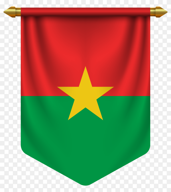 3D realistic pennant with flag of Burkina Faso on transparent background PNG