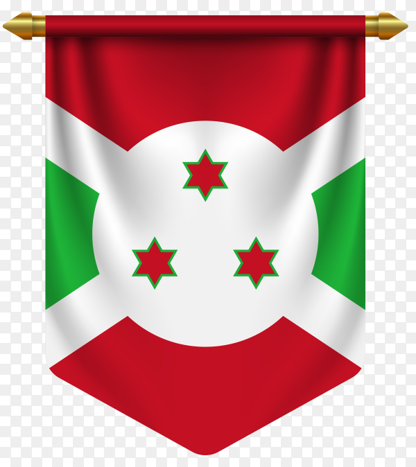 3D realistic pennant with flag of Burundi on transparent background PNG