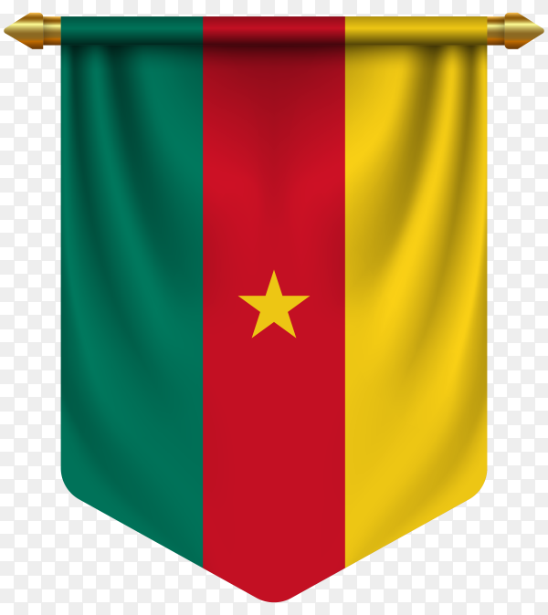 3D realistic pennant with flag of Cameroon on transparent background PNG