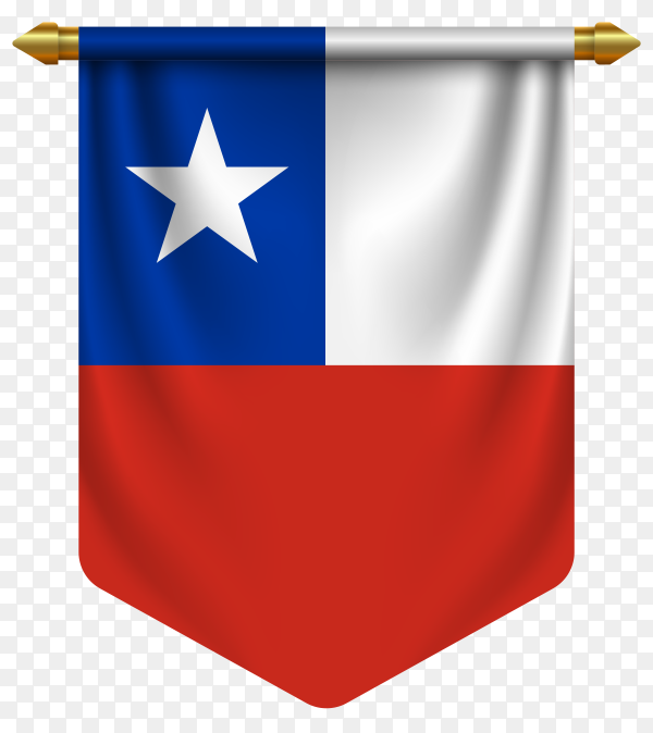 3D realistic pennant with flag of Chilean on transparent background PNG