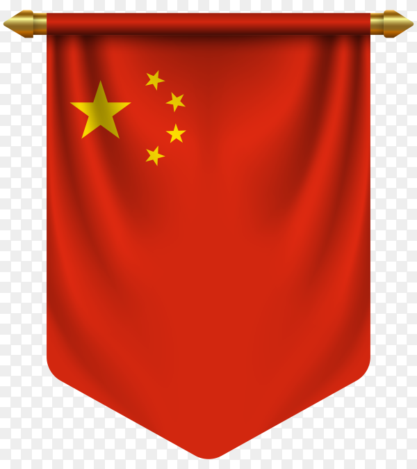 3D realistic pennant with flag of China on transparent background PNG