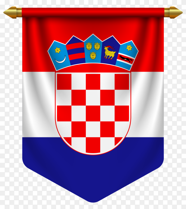 3D realistic pennant with flag of Croatia on transparent background PNG