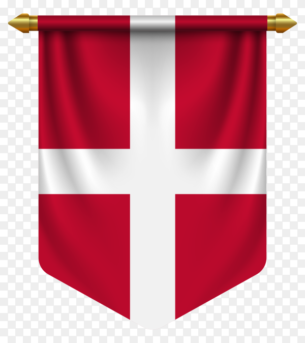 3D realistic pennant with flag of Denmark on transparent background PNG