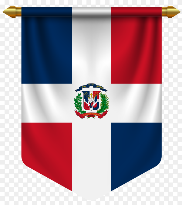 3D realistic pennant with flag of Dominican republic on transparent background PNG