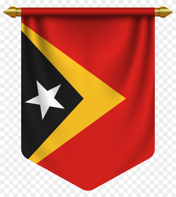 3D realistic pennant with flag of East Timor on transparent background PNG