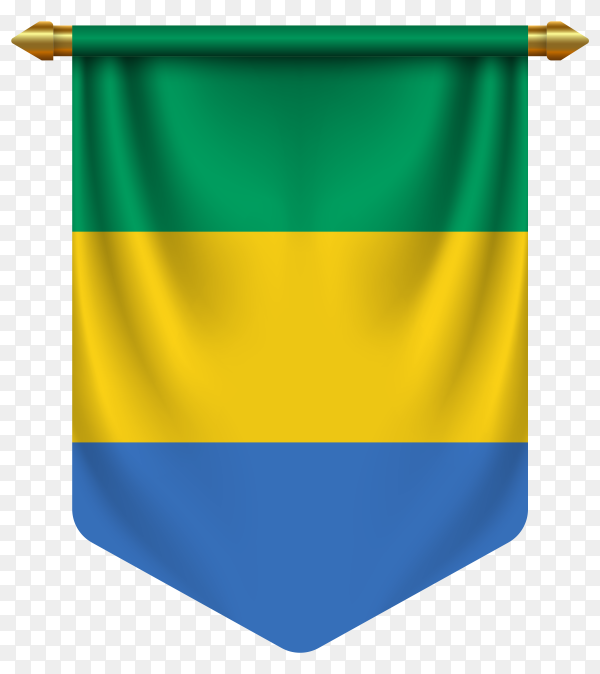 3D realistic pennant with flag of Gabon on transparent background PNG