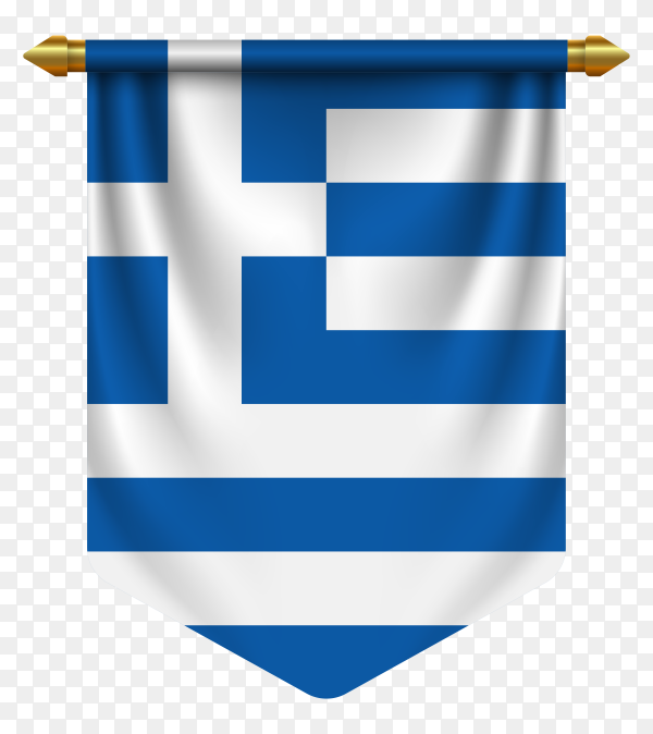 3D realistic pennant with flag of Greece on transparent background PNG
