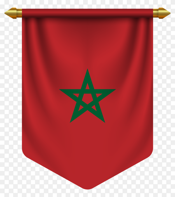 3D realistic pennant with flag of Morocco on transparent background PNG