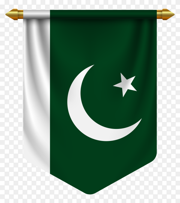 3D realistic pennant with flag of Pakistan on transparent background PNG