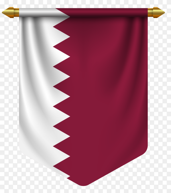3D realistic pennant with flag of Qatar on transparent background PNG