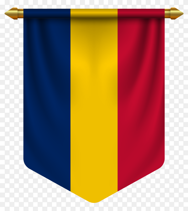 3D realistic pennant with flag of Romania on transparent background PNG