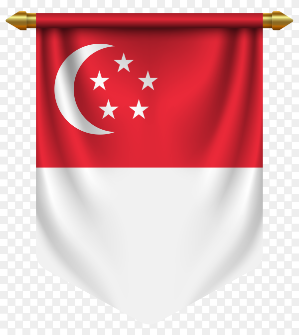3D realistic pennant with flag of Singapore on transparent background PNG