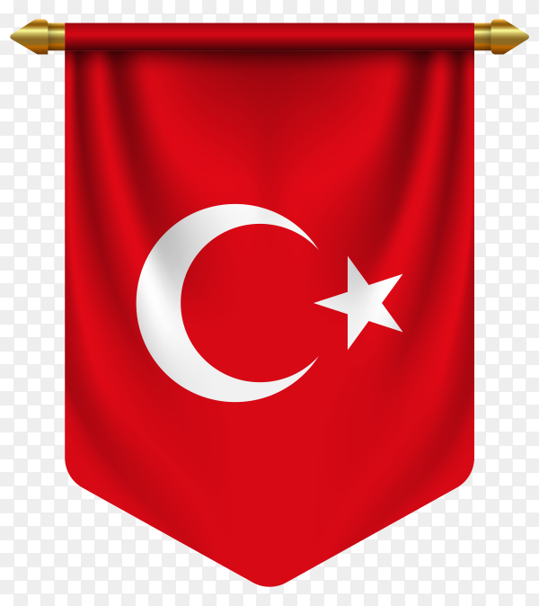 3D realistic pennant with flag of Turkey on transparent background PNG
