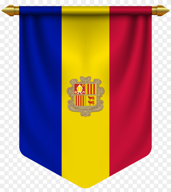 3D realistic pennant with flag of Andorra on transparent background PNG