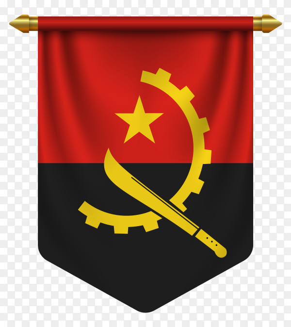 3D realistic pennant with flag of Angola on transparent background PNG