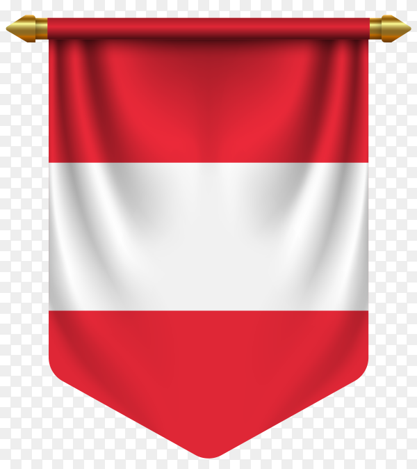 3D realistic pennant with flag of Austria on transparent background PNG