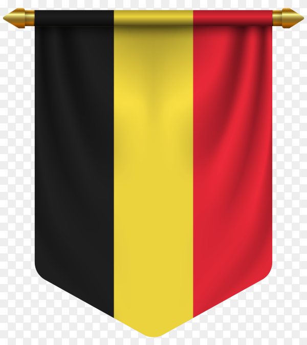 3D realistic pennant with flag of Belgium on transparent background PNG