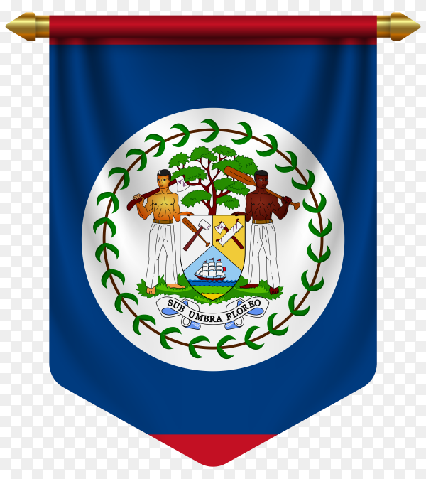3D realistic pennant with flag of Belize on transparent background PNG