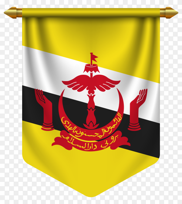 3D realistic pennant with flag of Brunei on transparent background PNG