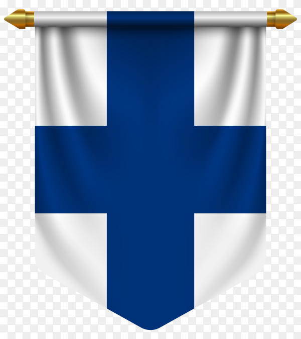 3D realistic pennant with flag of Finland on transparent background PNG
