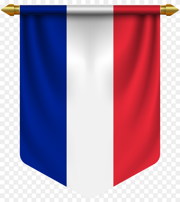 3D realistic pennant with flag of France on transparent background PNG