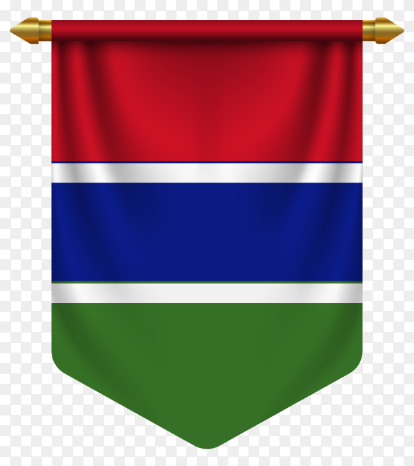 3D realistic pennant with flag of Gambia on transparent background PNG