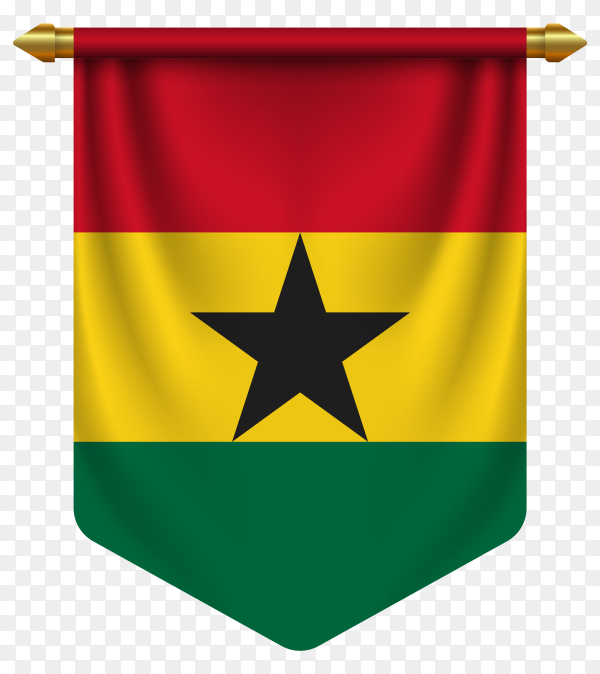 3D realistic pennant with flag of Ghana on transparent background PNG