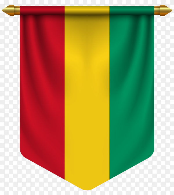 3D realistic pennant with flag of guinea on transparent background PNG