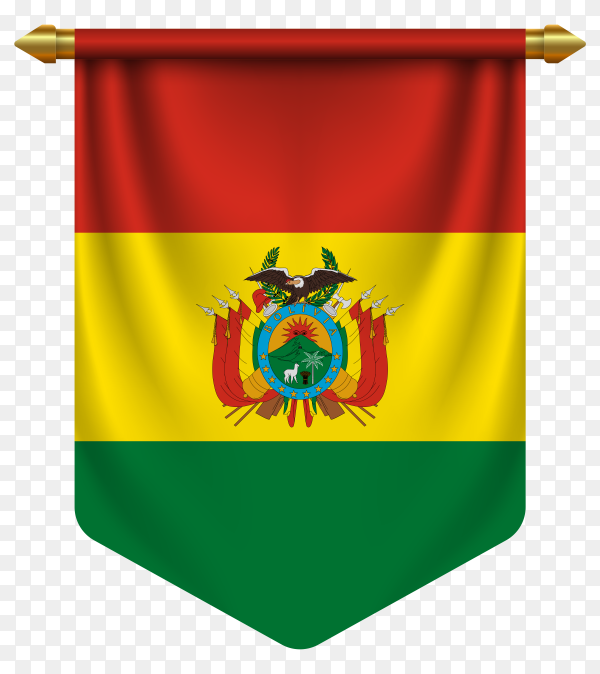 3D realistic pennant with flag of of Bolivia on transparent background PNG