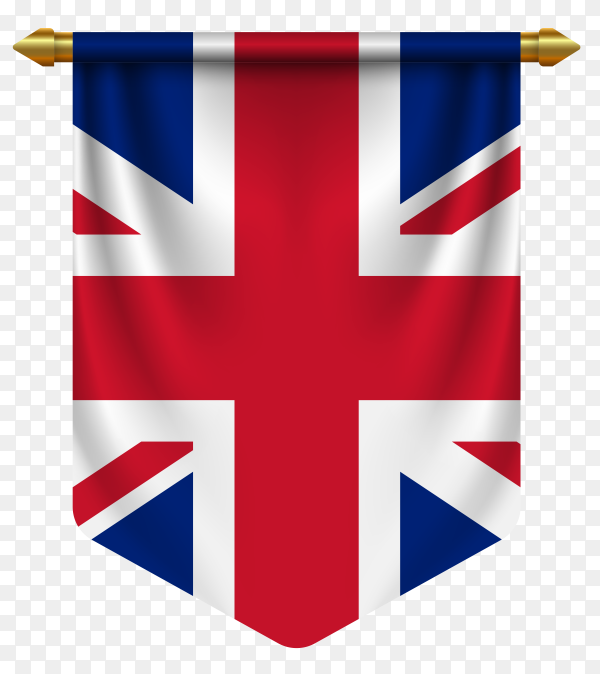 3D realistic pennant with flag of the united kingdom on transparent background PNG