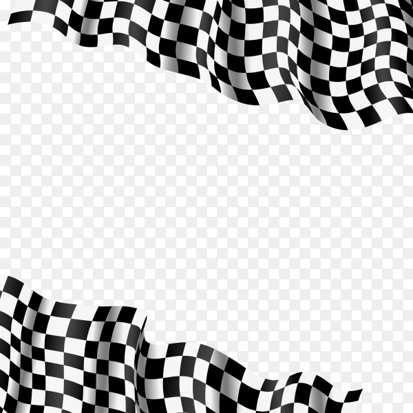 3d checkered racing flag on transparent background PNG