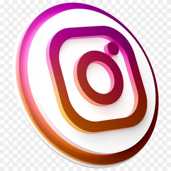 3d instagram logo in modern style for social media icon on transparent background PNG