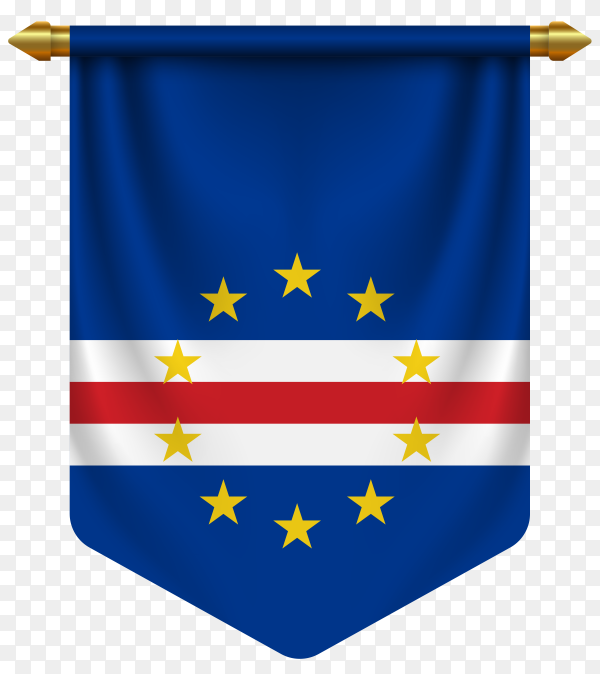 3d realistic pennant with flag of cape Verde on transparent background PNG