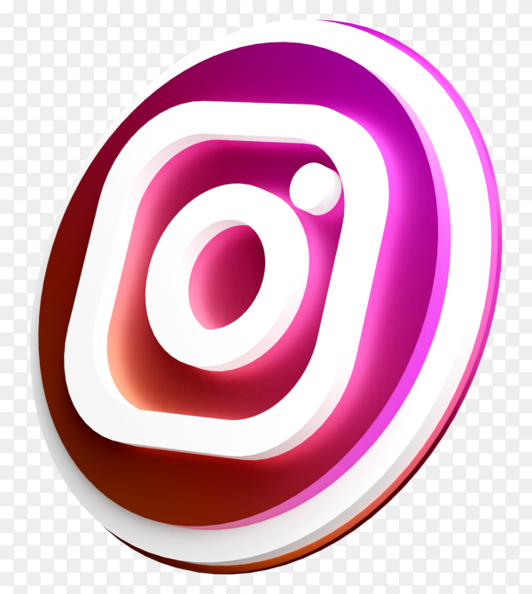 3d rotated logo of Instagram in 3d rendering on transparent background PNG