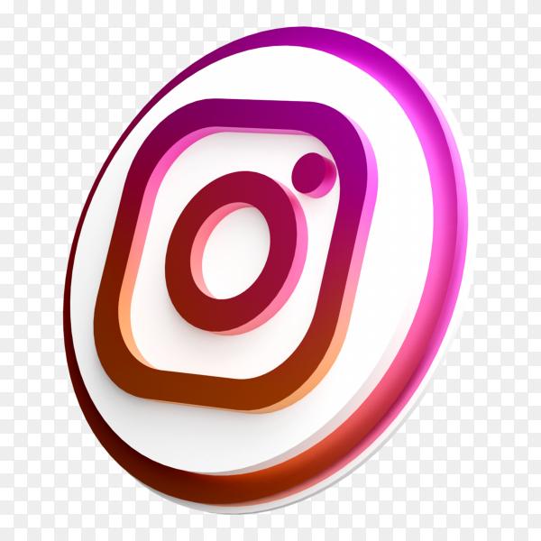 3d style Instagram social media logo on transparent background PNG