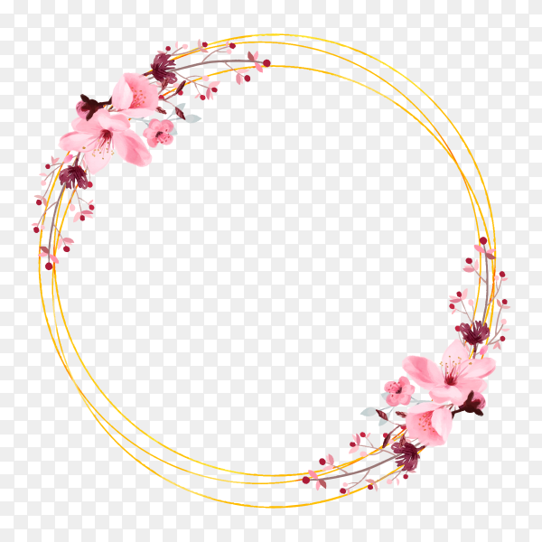 Abstract floral frame on transparent background PNG