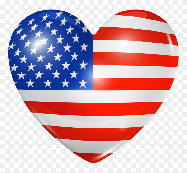 American flag in heart shape on transparent background PNG