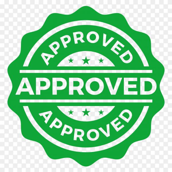 Approved seal stamp logo on transparent background PNG