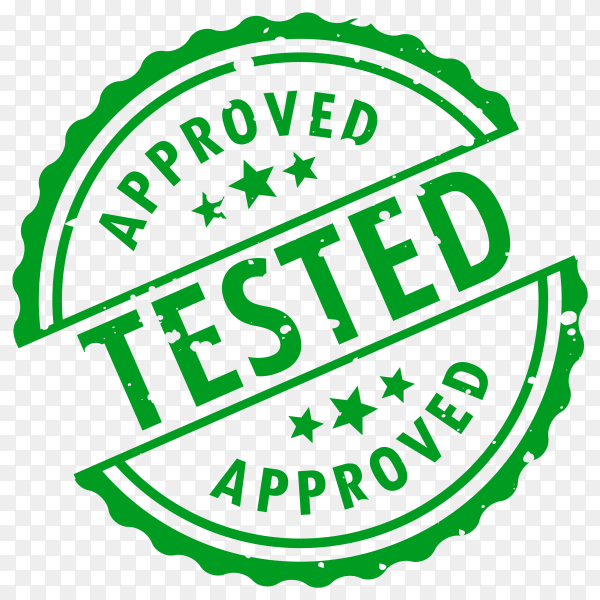 Approved tested stamp on transparent background PNG