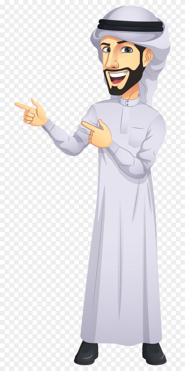 Arab man cartoon character premium vector PNG