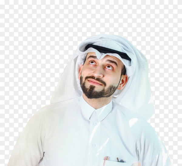 Arabian smiling man with traditional wear on transparent background PNG