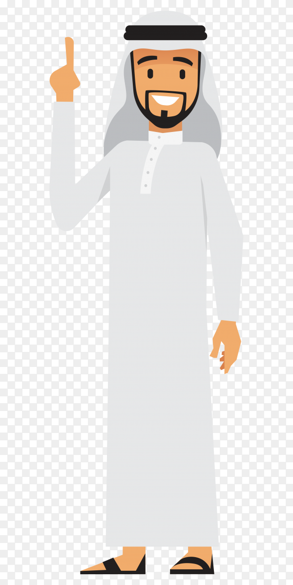 Arabic businessman cartoon character in traditional clothes raising his hands on transparent background PNG