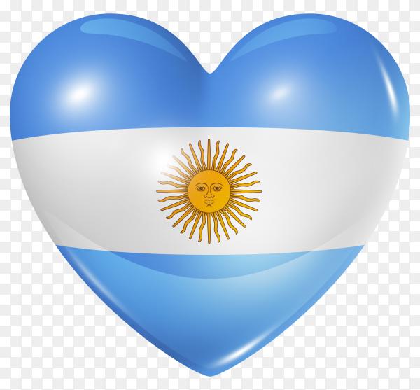 Argentina flag in heart shape on transparent background PNG