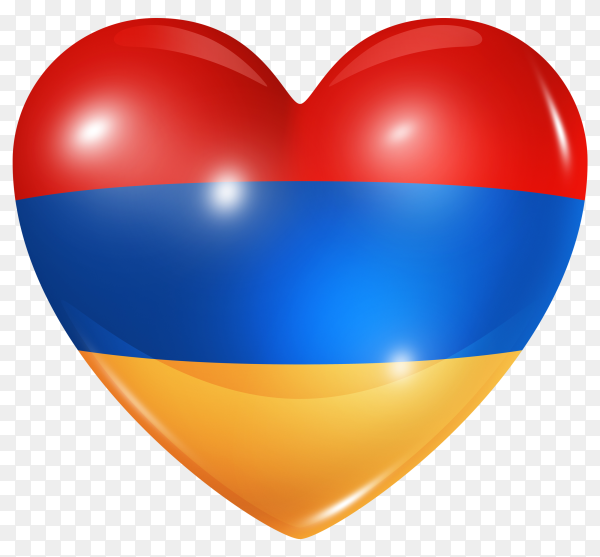 Armenia flag in heart shape on transparent background PNG