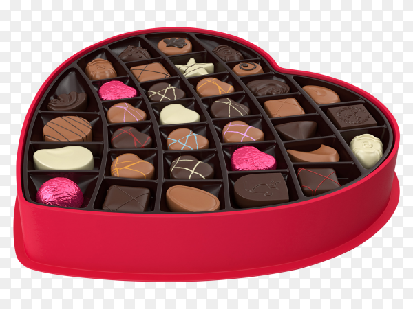 Assortment of luxury chocolate candies variety in red plastic tray on transparent background PNG